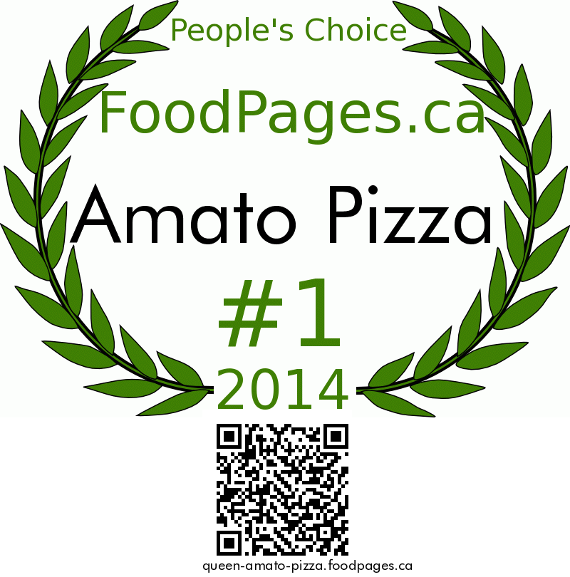 Amato Pizza FoodPages.ca 2014 Award Winner