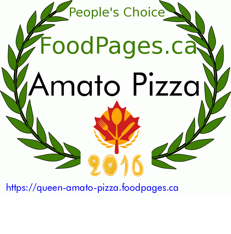 Amato Pizza FoodPages.ca 2016 Award Winner